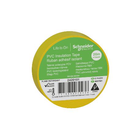 Ruban adhésif isolant jaune - 19mm x 20m (vendu par 10)