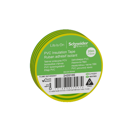 Ruban adhésif isolant vert et jaune - 19mm x 20m (vendu par 10)