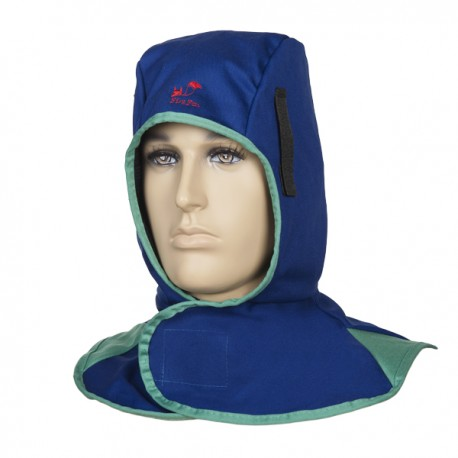 Blue welding hood, fireproofed