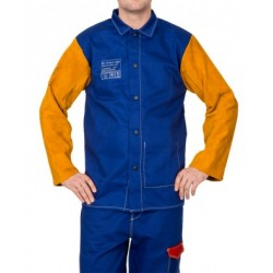 Weldas proban welder's jacket blue leather sleeves