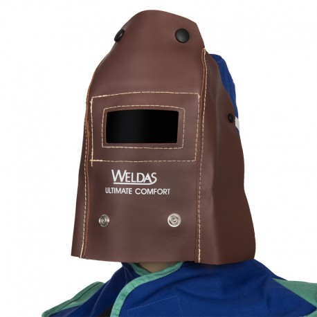 Weldas welder mask foldable leather - glass 110x50mm